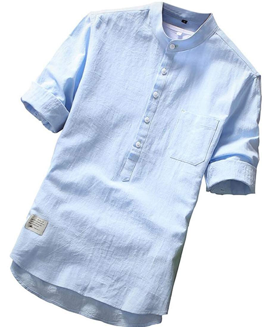 WSPLYSPJY Mens Line Cotton 3//4 Sleeve Shirts Loose Casual Summer Beach Plain T-Shirt Tops