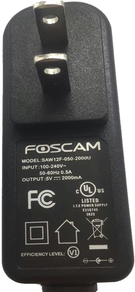 Black Foscam US Standard DC Power Supply 5V 2A