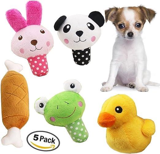 Pequeño perro juguetes ducha juguetes para perros mascotas Squeaky Toy yotoli Squeaky perro juguetes para perros Tamaño pequeño, mediano, 5 pcs de perro de peluche juguetes: Amazon.es: Productos para mascotas