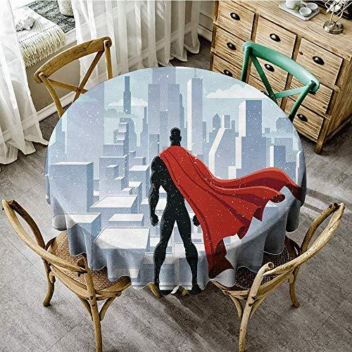DONEECKL Washable Tablecloth Superhero Hero Watching Over City in Snowy Winter Savior Justice Urban Design Picnic D59 Pale Blue Orange Black ()
