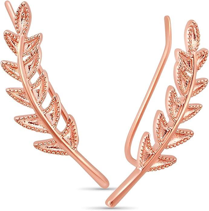Zigzag Leaf Ear Crawlers-1pair Leaves Branch Ear Climbers