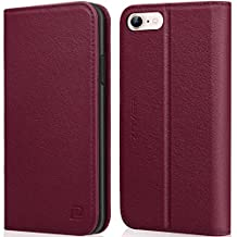 iPhone 6S Wallet Case iPhone 6 Wallet case ZOVER Genuine Leather Flip Folio Book Case with Kickstand Feature Card Slots & ID Holder and Magnetic Closure for iPhone 6 and iPhone 6S Wine Red