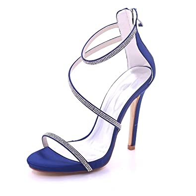 e52dd5b4c4 SHOELIN Strappy High Heels for Women Glitter Rhinestone Open Toe Satin  Bridal Wedding Shoes