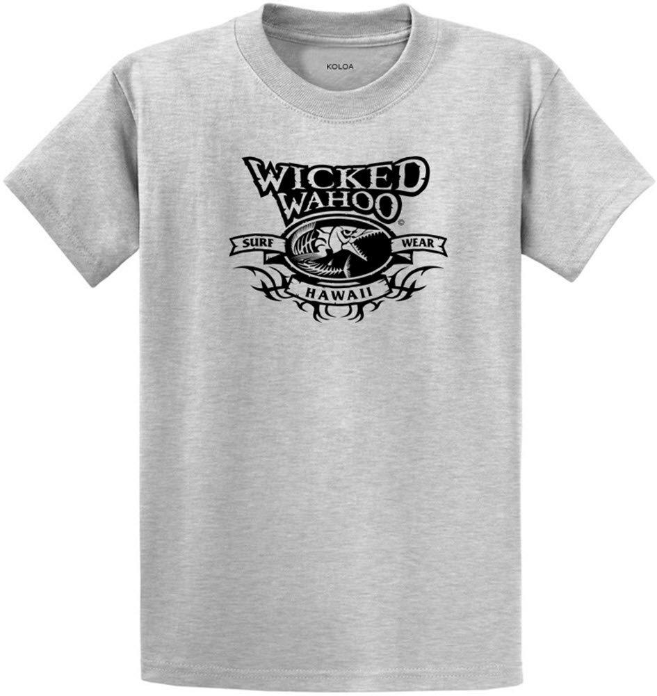 Koloa Wicked Wahoo Surfwear Logo Heavyweight Cotton T-Shirt-Ash/b-S