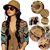 NPLE--Lady Panama Colorful Women Striped Foldable Straw Hat Beach...