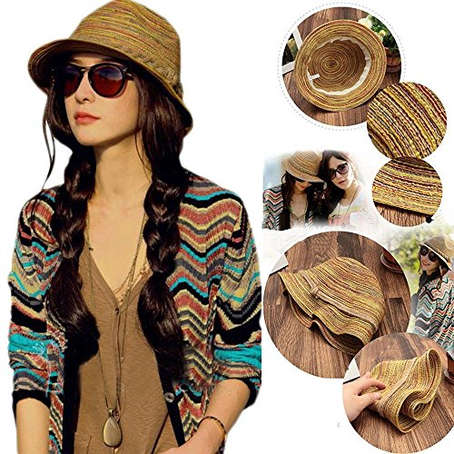 AMAZZANG-Lady Panama Colorful Women Striped Foldable Straw Hat Beach Summer Sun