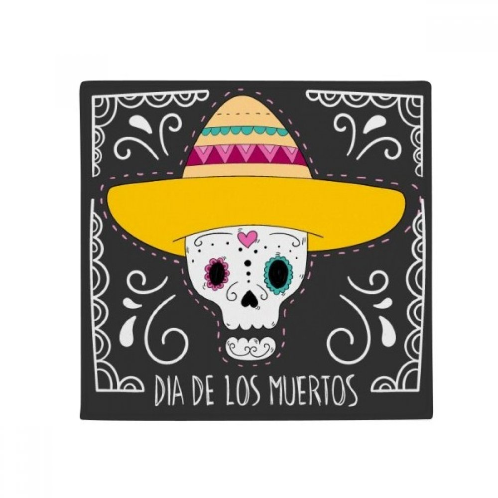 DIYthinker Hat Skull Mexico Happy The Day of The Dead Anti-Slip Floor Pet Mat Square Home Kitchen Door 80Cm Gift