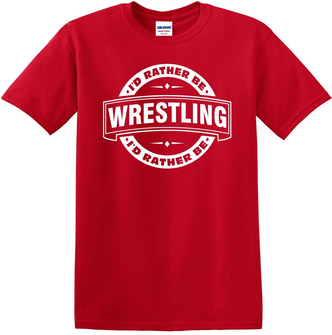 Youth T-Shirt ID Rather Be Wrestling (Badge) Small Funny Kids by Mighty Ambitious