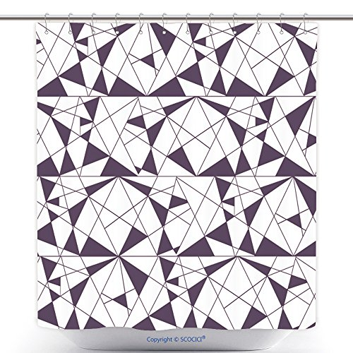 Funky Shower Curtains Geometric Seamless Black And White Pattern With Triangles. Modern Stylish Texture. Vector Wallpaper, Background_69936227 Polyester Bathroom Shower Curtain Set With Hooks