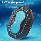 Liboer IPX7 Waterproof Bluetooth Speakers Portable Outdoor Wireless Shower Speaker with Bass, Built-in 4000mAh Battery, Bluetooth 4.1, 10W Driver, Handsfree Call, Aux In Port and TF Card Slot (Blue)