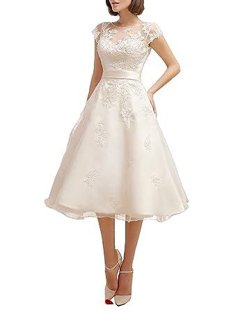 Mulanbridal Women\'s Floral Lace Knee-Length Short Wedding Dress ...