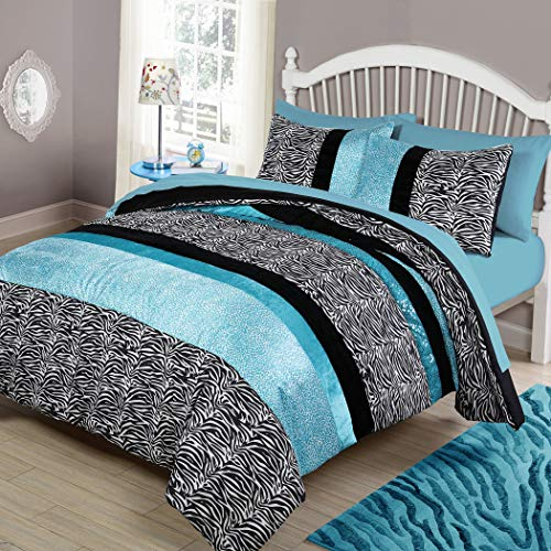 NA 2 Piece Girls Teal Blue Zebra Print Comforter Twin for sale  Delivered anywhere in USA