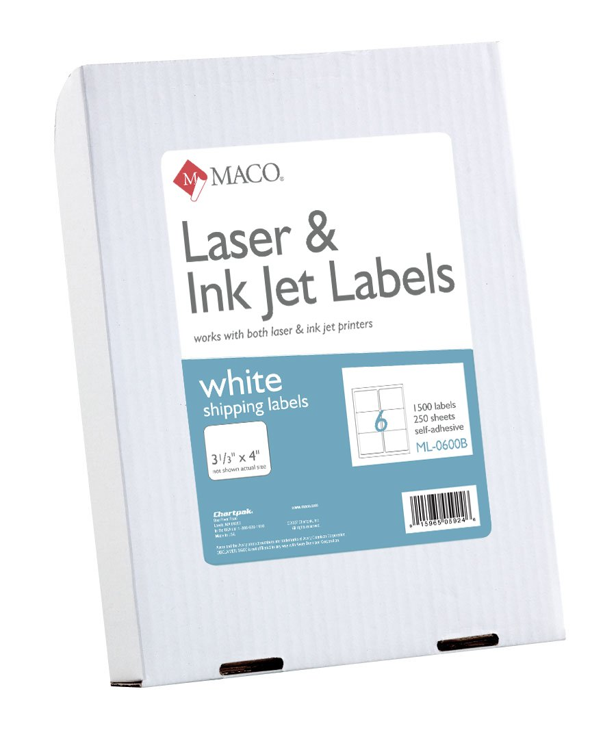 MACO Laser/Ink Jet White Shipping Labels, 3-1/3 x 4 Inches, 6 Per Sheet, 1500 Per Box (ML-0600B) by Maco