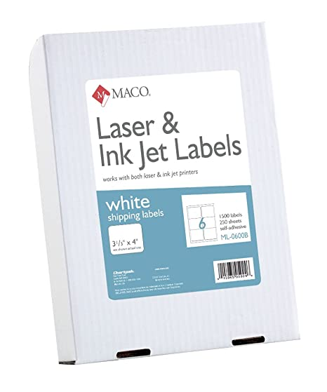 Amazon.com : MACO Laser/Ink Jet White Shipping Labels, 3-1/3 x 4 ...