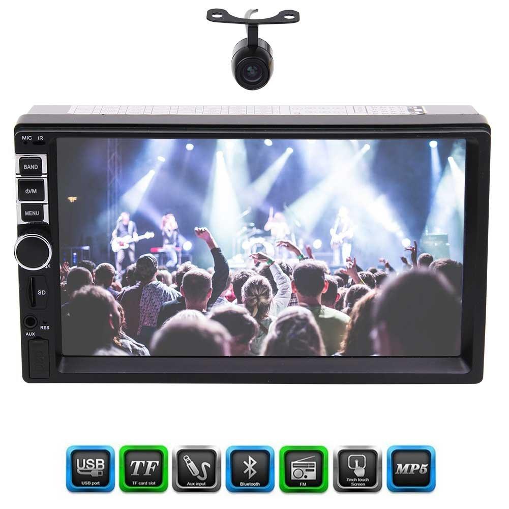 フロントカメラはダブル2ディンEincar 7インチのタッチスクリーンカーラジオカーステレオヘッドユニットPlayerサポートのBluetoothハンズフリー1080P作品リアビューカメラFMのAux入力USBを含みます B0787Y5ZWP