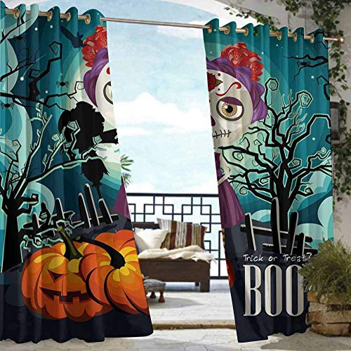 DILITECK Extra Wide Outdoor Curtain Halloween Cartoon Girl with Sugar Skull Makeup Retro Seasonal Artwork Swirled Trees Boo Great for Living Rooms & Bedrooms W84 xL72 Multicolor