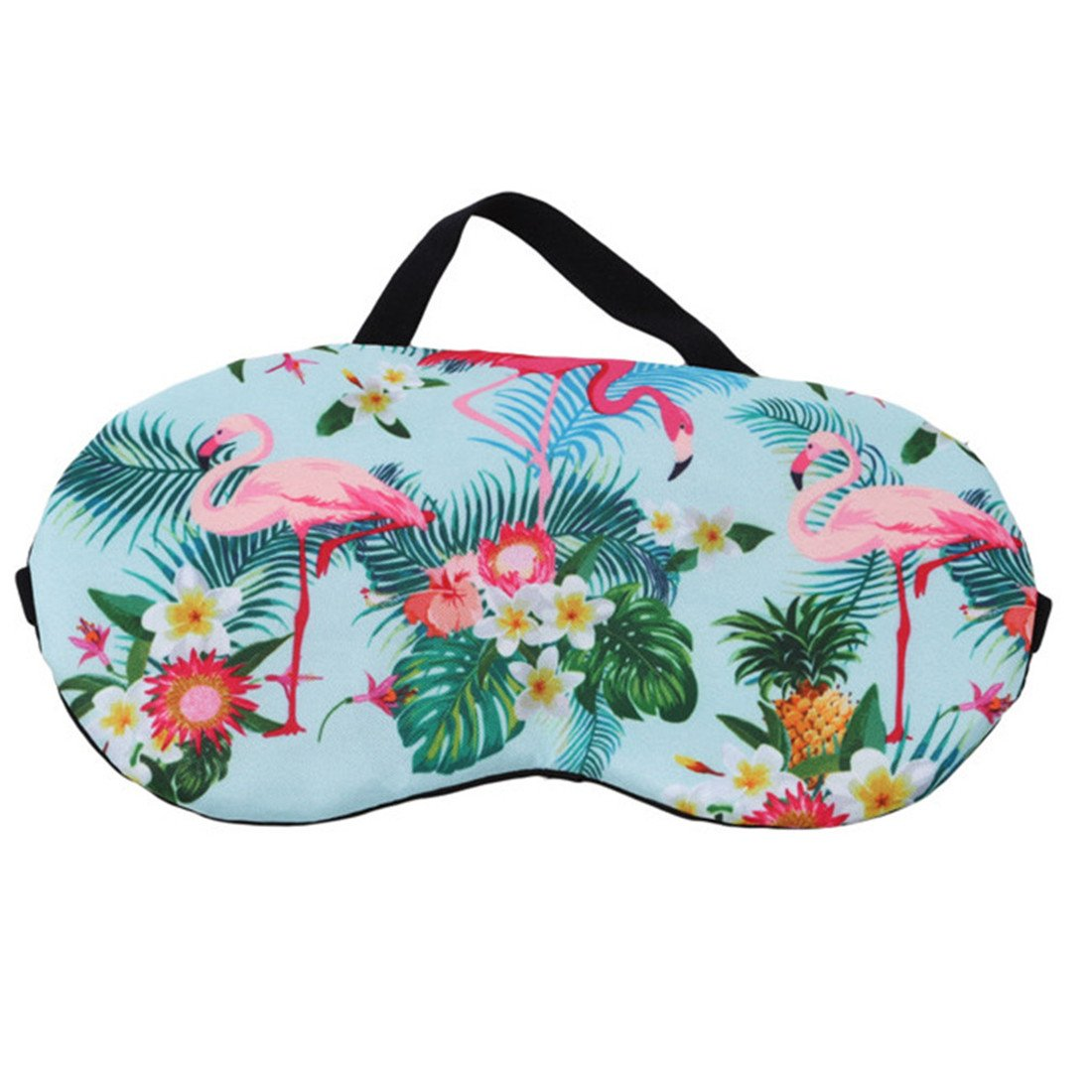UNKE Flamingo Pattern Sleeping Eye Mask Blindfold Relax Sleep Travel Light Blocking Eye Shade,Green
