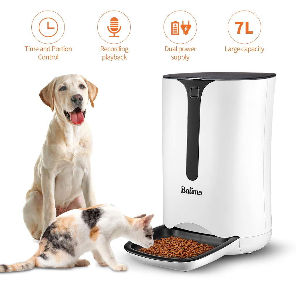 Balimo Automatic Smart Pet Feeder for Cat and Dog, Food Dispenser with Distribution Alarms, Portion Control, Voice Recorder, Programmable Timer for up to 4 Meals per Day, 7L by Balimo