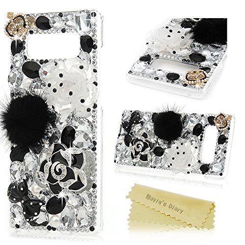 Note 8 Case, Mavis's Diary Clear Slim Fit Luxury 3D Handmade Bling Crystal Rhinestone Diamonds White and Black Lotus Feather Ball Bow Full Body Protective Hard PC Cover for Samsung Galaxy Note 8 ()