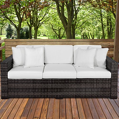 Best Choice Products 3-Seat Outdoor Wicker Sofa Couch Patio Furniture w/Steel Frame, Removable Cushions - (Best 3 Seat)