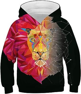 Cutemile Boys Girls Cool Hoodies Novelty 3D Graphic Hoody Long Sleeve Sweatshirts Fleece Pullover with Pocket 5-13T