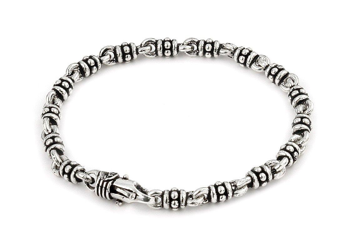 Twisted Blade 925 Sterling Silver Studded Double Link Bracelet 7''