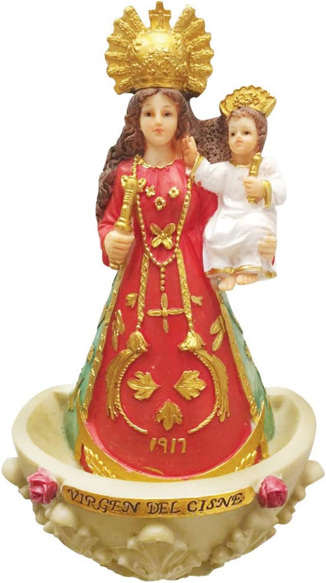 9.5 Inch La Virgen Del Cisne with Holy Water Holder Pendant Saint Cisne Catholic Gift Wall Mounted Statue