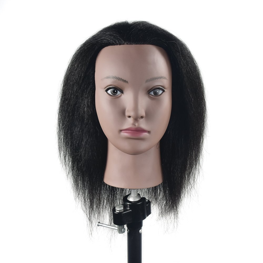 100% Real Hair Mannequin Head Hairdresser Training Head Manikin Cosmetology Doll Head with Free Table Clamp MIAOMANZI