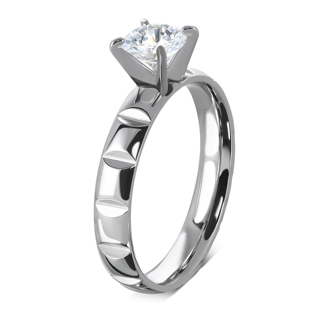Stainless Steel Prong-Set Round Fancy Cuts Shank Comfort Fit Engagement Ring with Clear CZ