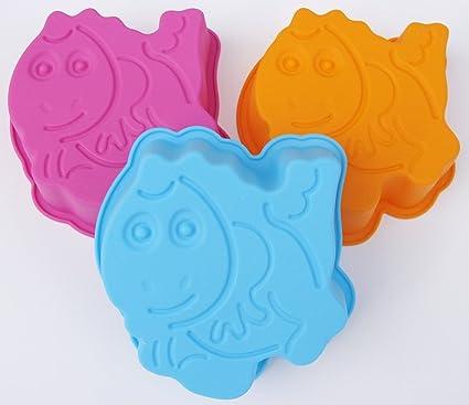 Para niños con diseño de molde para hornear de silicona de moda 3 x molde de flan ...