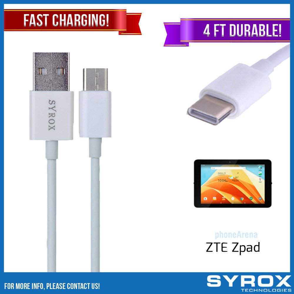 Syrox 50-Pack USB Type-C Cable, Reversible 4 ft Ultra Durable Fast Charging for ZTE Zpad, Samsung Galaxy Note 8, S8 Plus, LG V30, V20, G6, G5, Google Pixel, 6P, Nintendo Switch and All