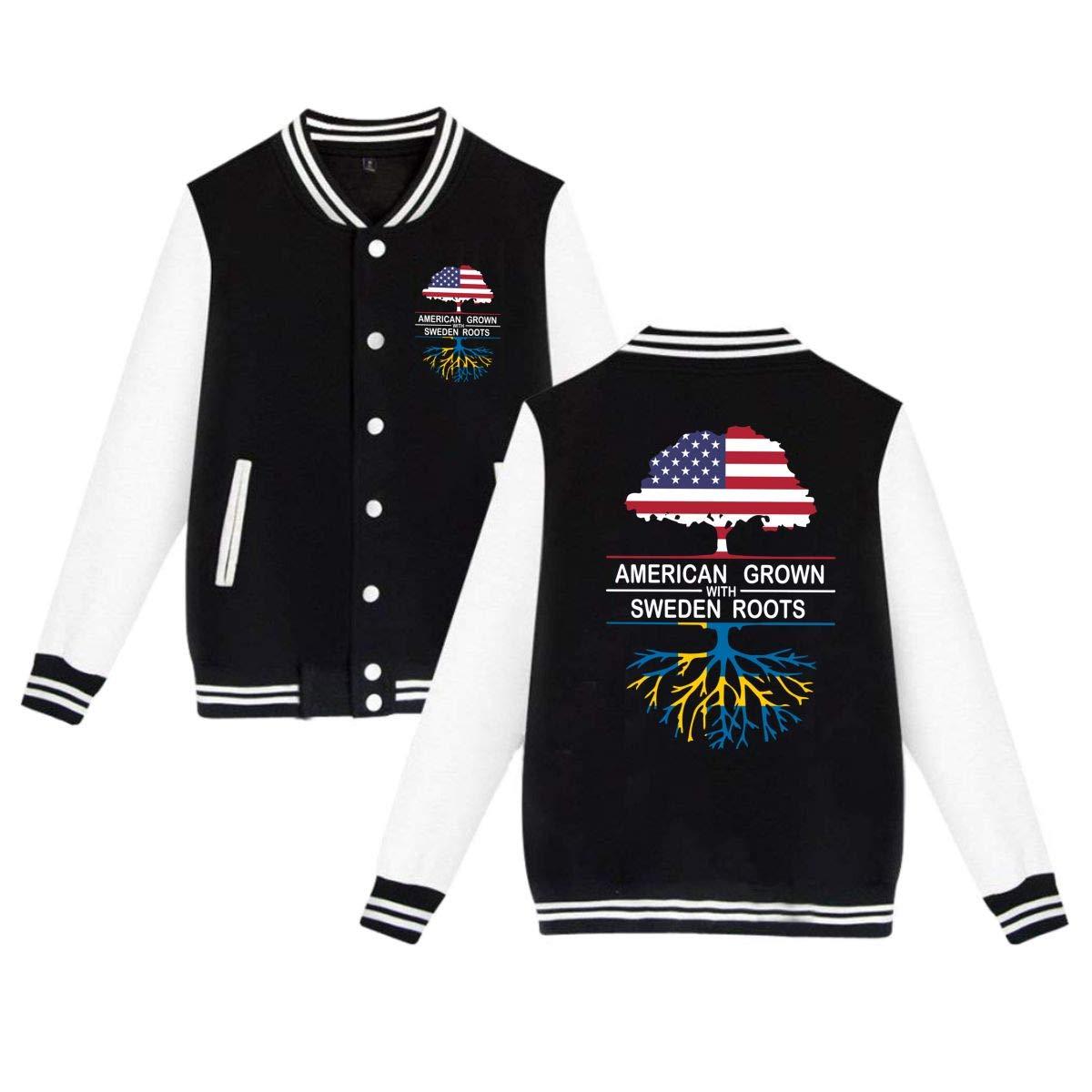 PLS/&A88 Unisex Baseball Jacket Uniform American Grown with Sweden Roots Boys Girls Hoodie Sweatshirt Sweater Coat