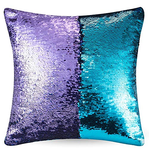 URSKYTOUS Reversible Sequin Pillow Case Decorative Mermaid Pillow Cover Color Changing Cushion Throw Pillowcase 16