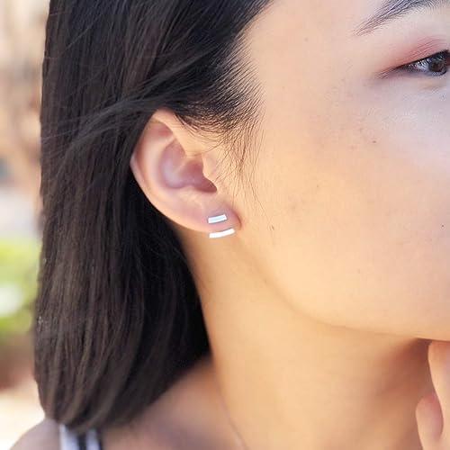 Minimalist Bar Ear Jacket Earrings 925 Sterling Silver