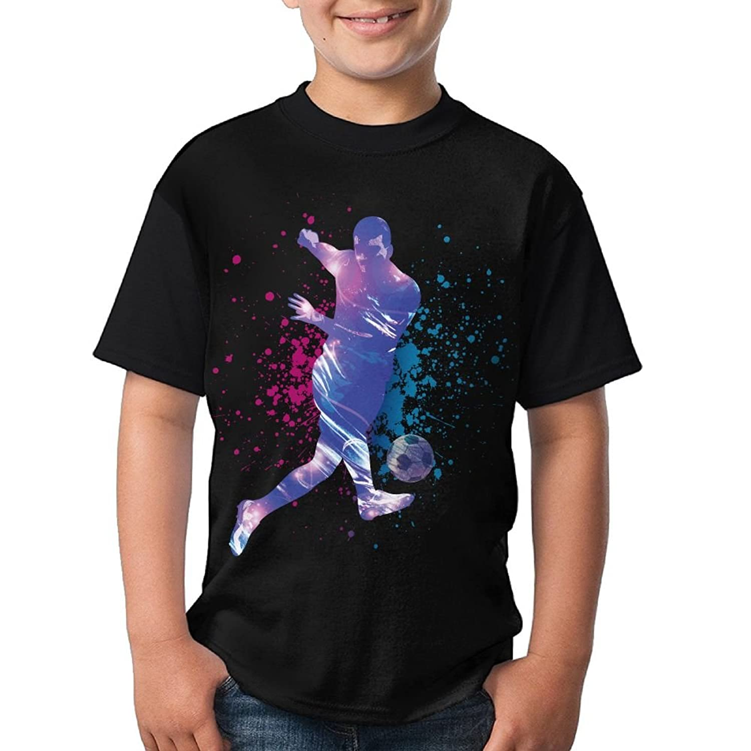 14cfc9a44 CHENLY Unisex T-Shirt Breathable Watercolor Football Man O-Neck Tee For  Child -