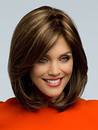 2015 Peluca Peruca Sexy Bob Synthetic Hair Wigs Medium Long Straight Brown Wig for Women Full