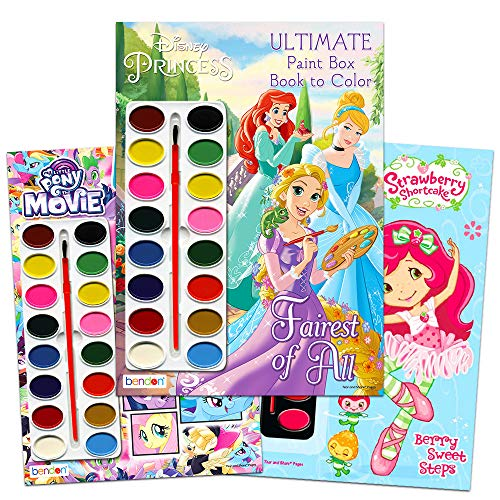 (Paint with Water Super Set for Girls Kids Toddlers -- 3 Deluxe Paint Books with Paint Brushes (Featuring Disney Princess, Strawberry Shortcake and My Little Pony))