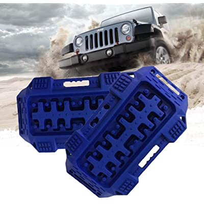 FIREBUG Off-Road Recovery Track, Traction Boards, Tracktion Mat, 2 Pcs Recovery Tracks Traction Mat for 4X4 Jeep Mud, Sand, Snow Tire Traction (Blue): Automotive