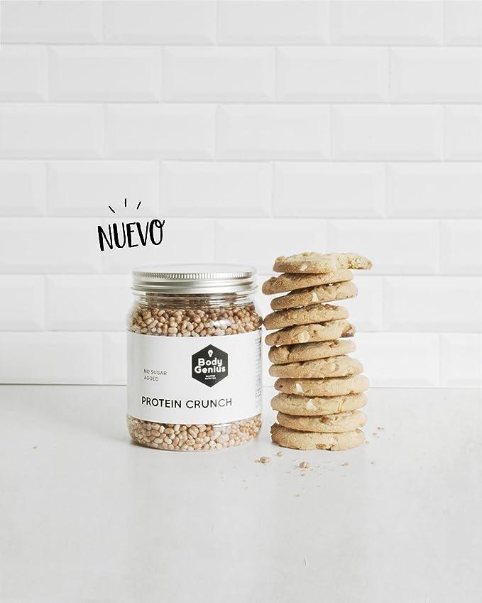 Body Genius Protein Crunch. Bolitas de Proteina Recubiertas de Chocolate Sin Azucar. 500 gr (Galleta y Chocolate Blanco): Amazon.es: Alimentación y bebidas