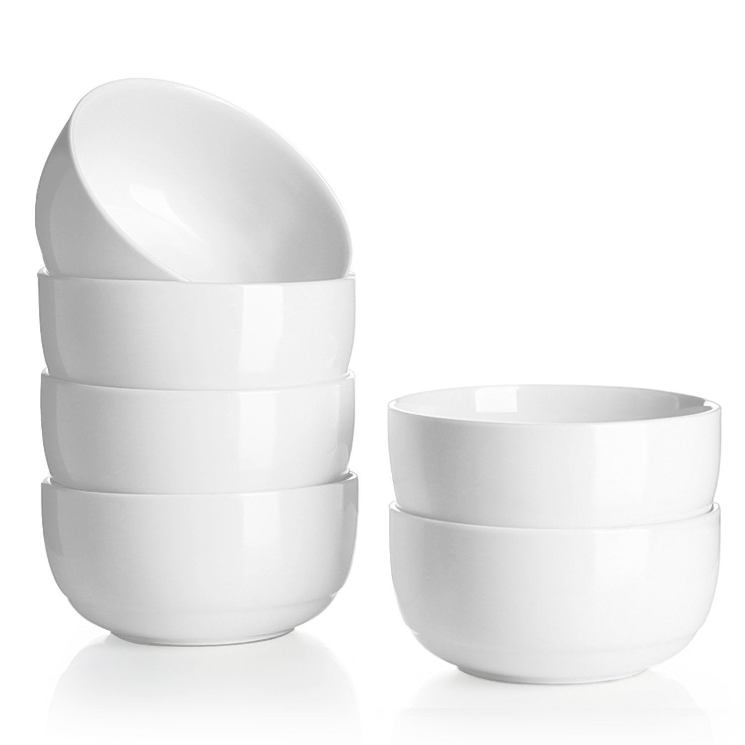 Teocera 10 Oz Porcelain Bowls - 4.25 inch Small White Bowl Set of 6, A Healthier Portion Size for Sauce Dip Serving, Cereal, Dessert, Snack, Rice, Ice cream, Fruit, Microwave Safe