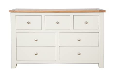 Incredible Hobart Ivory Rustic Oak Top 3 Over 4 Chest Of Drawers Solid Home Interior And Landscaping Ponolsignezvosmurscom