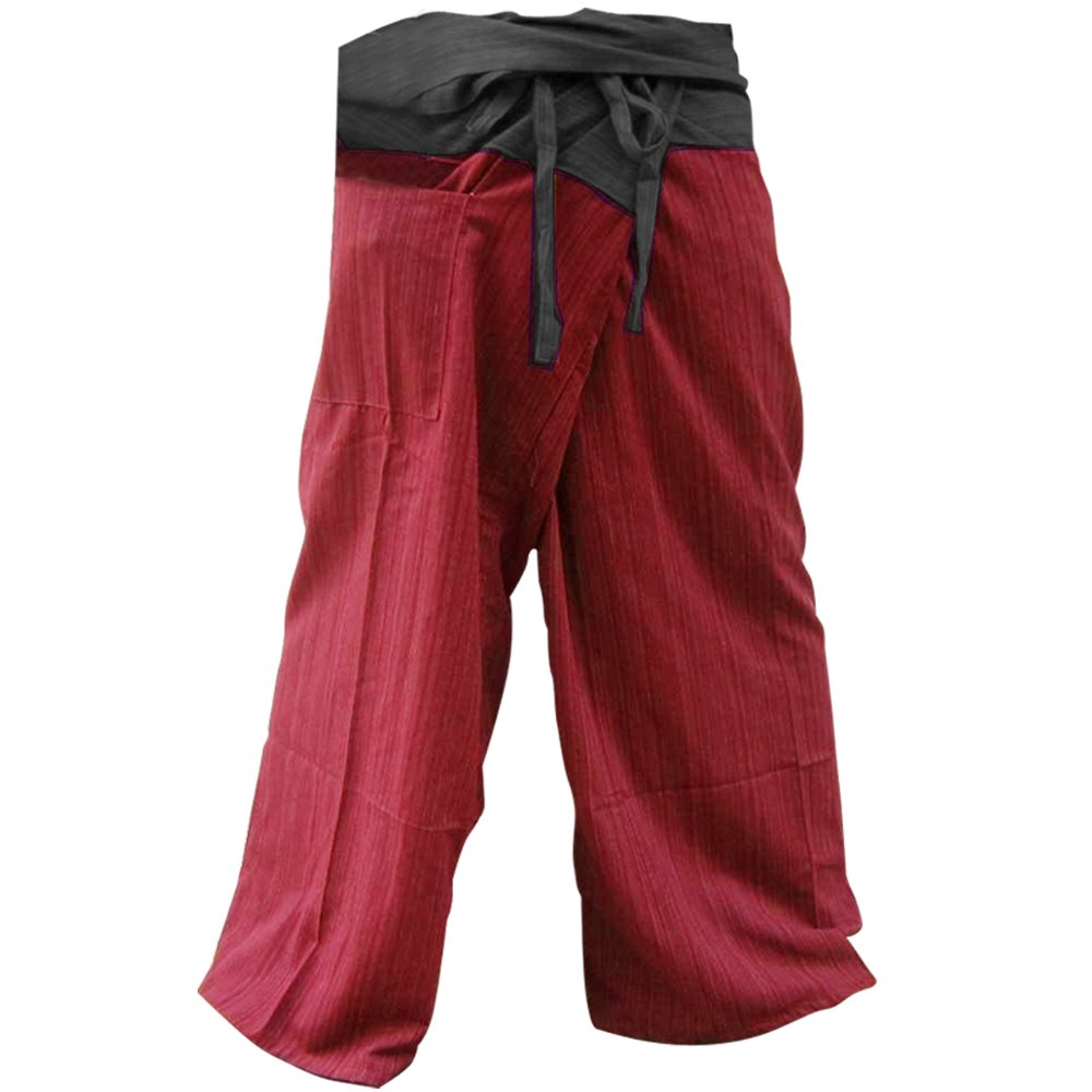 2 TONE Thai Fisherman Pants Yoga Trousers FREE SIZE Plus Size Cotton Drill Charcoal and Rustic Red Stripe Thailand