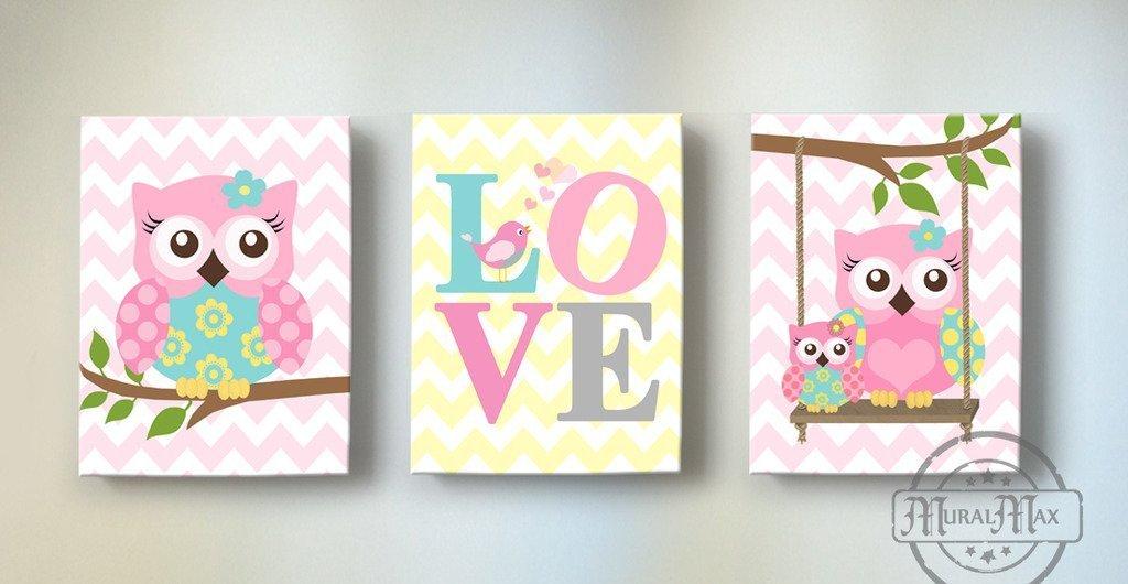 MuralMax - Chevron Inspirational Nursery Owl Canvas Art -The Love Collection - Set of 3 - Size - 8 x 10