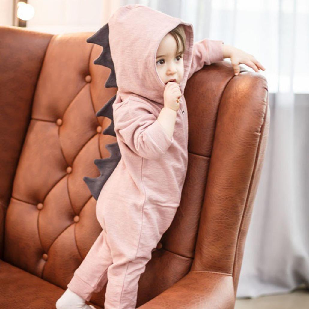 Goddessvan Newborn Infant Baby Boy Girl Dinosaur Hooded Romper Jumpsuit Outfits Clothes
