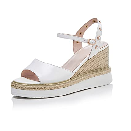 476fa4eb84a9e Amazon.com: KJJDE Women's Premium Wedge Sandals WSXY-L1719 Pearl ...