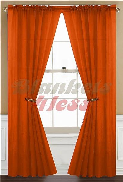Orange Sheer Curtain 2 Panels Rod Pocket 57quot