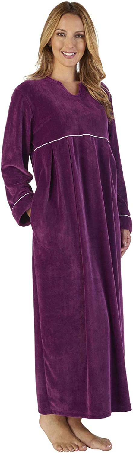 TALLA S. Slenderella GL2792 Women's Luxury Velvet Dressing Gown Loungewear Bath Robe Robe