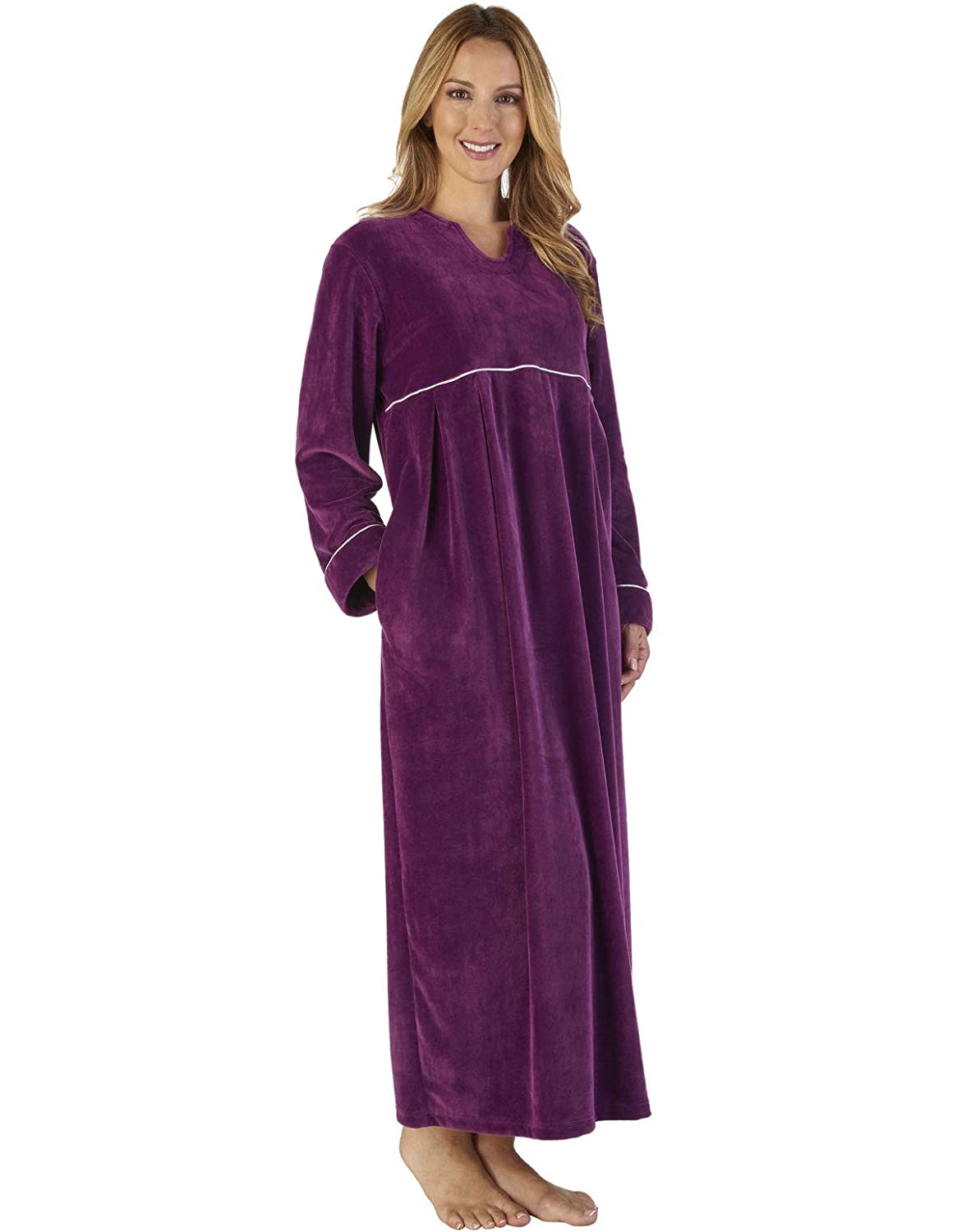 TALLA M. Slenderella GL2792 Women's Luxury Velvet Dressing Gown Loungewear Bath Robe Robe