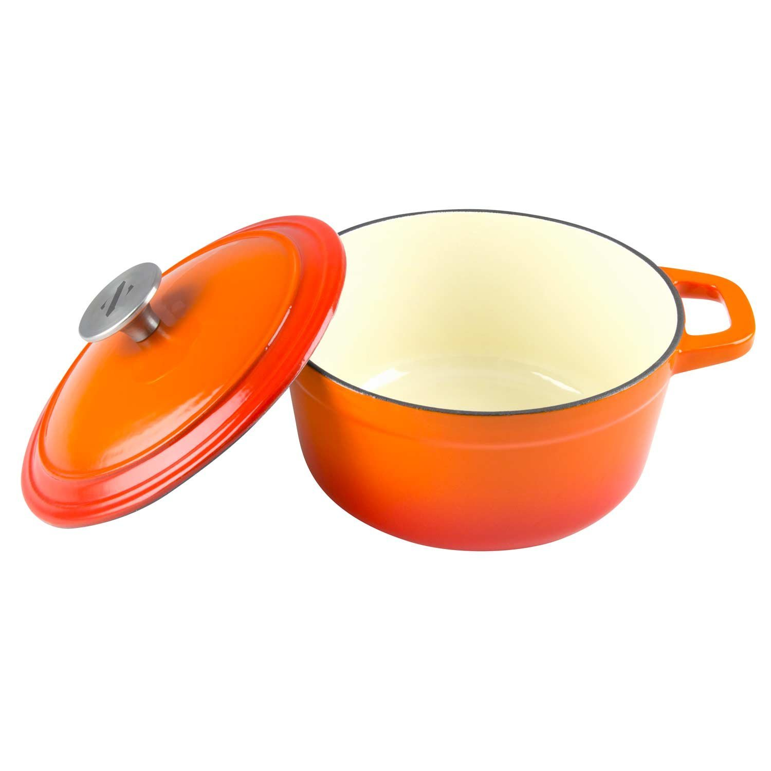 Zelancio 3 Quart Cast Iron Enamel Covered Dutch Oven Cooking Dish with Lid (Tangerine Orange)