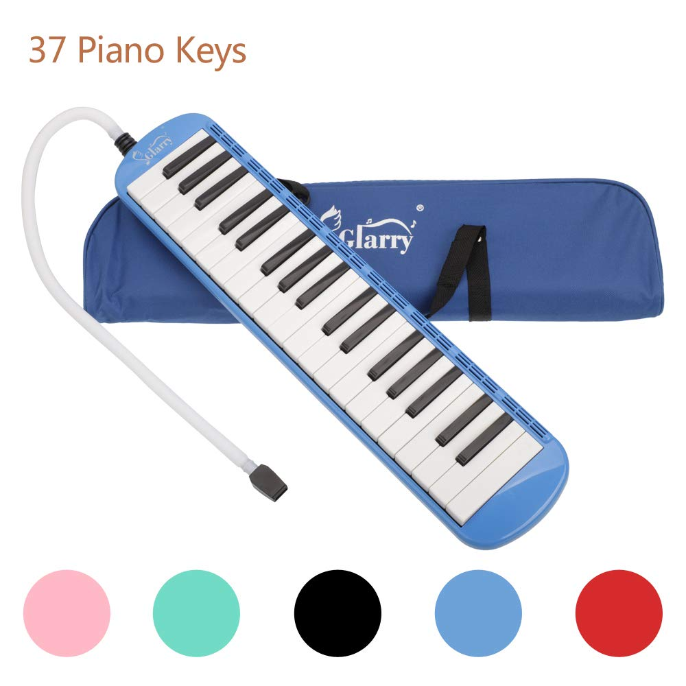 Acazon 37 Key Melodica Portable Musical Instrument Music Lovers Beginners Gift with Mouthpiece & Hose & Bag (US STOCK) (Blue)
